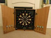 Electronic darts board with wooden cabinet