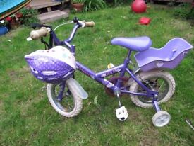 Beautiful Purple Princess Bicycle with helmet/stabilisers/bell and doll/teddy chair