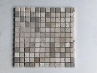 Tumbled Mixed Travertine Brick Mosaic Tiles 24 x 24 mm