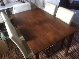 Walnut effect dining table & 4 chairs