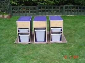 Set of Three Storage Units with Two storage boxes and One Drawer. Can Deliver.