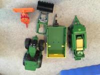 John Deere toy tractor & accessories