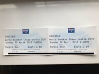 2 tickets to THE FINAL Sun 30th April 2017 @ 2pm - 2017 Betfred World Championship Snooker for sale.