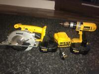 DeWalt 18v Drill Driver & 18v circular saw plus 2 batteries & 1 charger