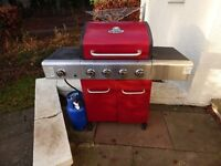 Large OUTBACK Barbecue with gas bottle and cover in excellent condition