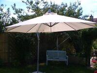 3m Cream/Ivory Ikea Sun Unbrella with 4 granite slab weights