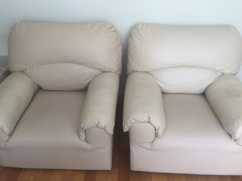 Pair Of Single Faux Leather Sofas For 10 Good Clean Condition