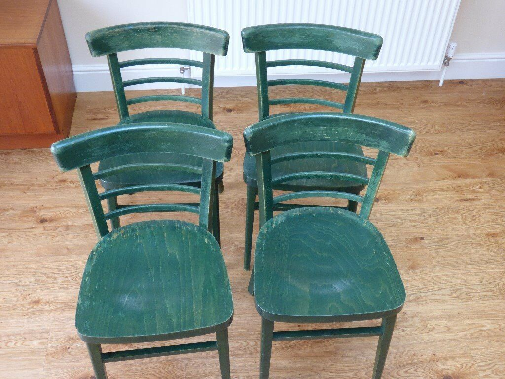 CHAIRS, 4 SOLID, WOODEN, CURVED-BACK KITCHEN/DINING CHAIRS   in ...