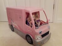 Barbie camper van with swimming pool and 2 dolls