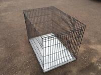Metal dog cage/crate. XL size, two door with slide out base