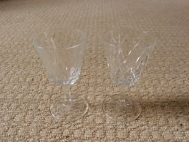 2 Crystal Sherry Glasses Glassware
