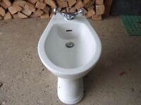 White Heritage Bidet with Heritage Mixer Tap