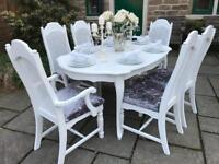 French Chic White Dining Table & 6 Chairs