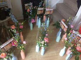 Chalk paint bottles / jars wedding table centre pastels