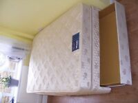 CAN DELIVER - MYERS DOUBLE DIVAN BED WITH BOTTOM DRAWER AND MATTRESS IN VERY GOOD CONDITION