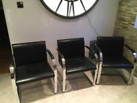 6 mid century black leather and chrome chairs Mies van der Rohe style