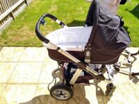 iCandy apple/pear pram+pushchair with single+dual chairs & cover(inc. raincover)