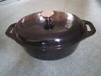 Professional Prepara Cast Iron Black Casserole Dish With Lid, 32cm, 6 litre - brand-new