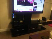 Black High Gloss & Glass Cantilever Tv Stand RRP £349