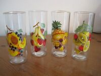 SET OF 4 FINE FRUIT DRINKING GLASSES - 1960