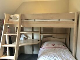 IMMACULATE beech bunk beds with desk and chest of drawers- holiday home only used on a few occasions