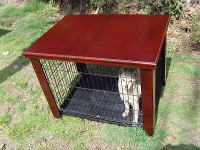 "Wood Dog Crate Table Fit Folding 24"" Pet Cage Furniture"