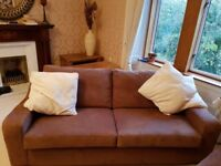 2 x Large Identical Chocolate Brown Sofas