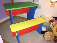 Home Handmade Child Desk with bench all in one