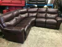 Ex display corner sofa brown leather electric recliner with USB port