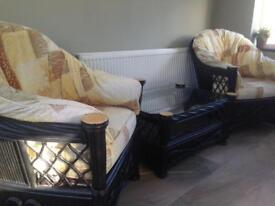 2 Conservatory Cane Chairs with Matching Coffee Table