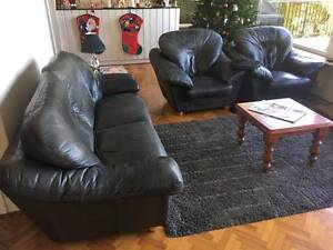 King Leather Lounge 3 Seater 2 Armchairs 2 Ottomans Northwood Lane Cove Area Preview