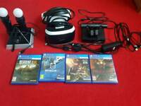 PlayStation VR with games and accessories.