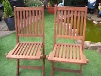 2 Wooden Garden / Patio Chairs