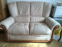 Cream leather sofas with recliners