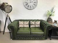 2 seater forest green Chesterfield sofa. Can deliver