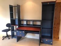Desk with pull out Keyboard Shelf with 2 Bookcases and Chair - Good Quality