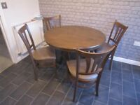 Dining Table & 4 Chairs (D 1.02 m, Negotiable Price)