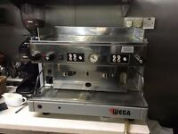 wega 4 group coffee machine with grinder and all accessorises needs attention