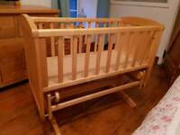 Mothercare deluxe gliding crib for sale and John Lewis crib mattress