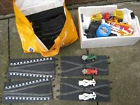 vintage scalextric with 4 cars