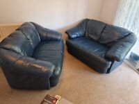 REDUCED Two x 2 seater Dark Blue Leather, matching pair but will separate