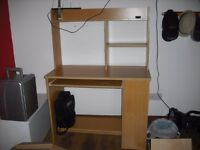 computer desk for sale.excellent condition.beech wood.bookshelves to the side and a pull out shelve