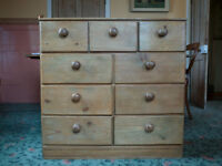 1910 ANTIQUE PINE CHEST OF DRAWERS