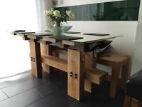 Industrial style oak sleeper dining table
