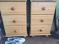 2 solid pine 3 drawer Cabinets