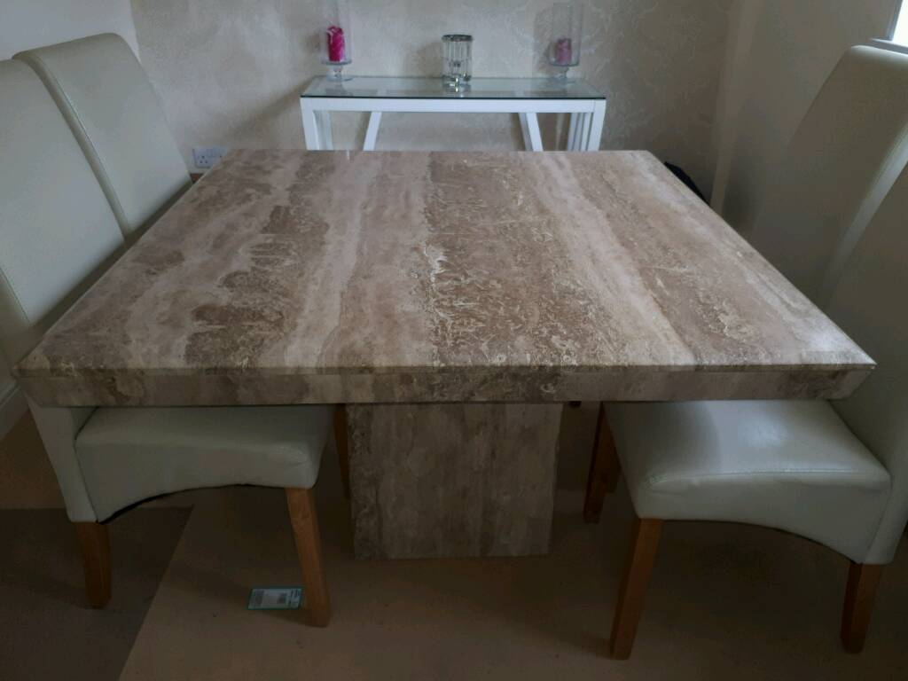 Marble dinning table and four chairs