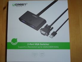 UGREEN VGA Switch Box, 2 Port VGA SVGA Switch + Manual Switch Button, support for PC, Monitors etc.