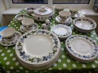 Royal Doulton Burgundy Dinner Service x 39 piece inc vegetable dish, salt pepper