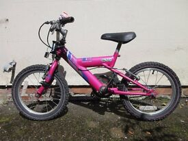 "Girl's Raleigh Bike: 16"" wheels and Trailgator tow bar"