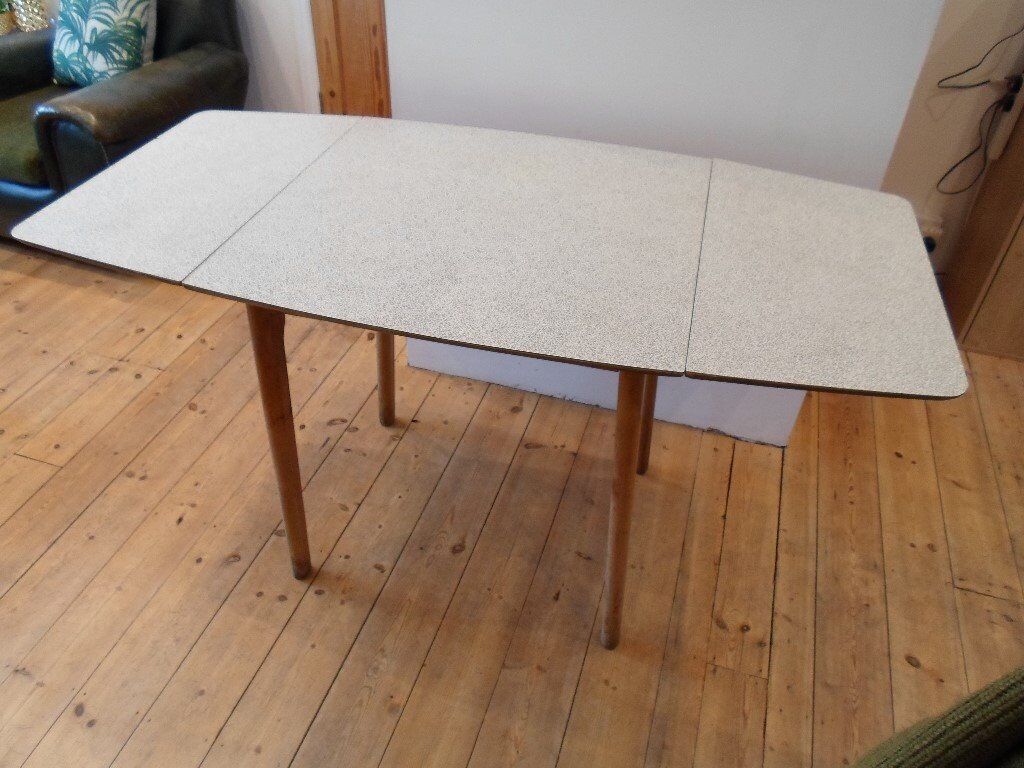 Retro Drop Leaf Kitchen Dining Table Crazy Formica Pattern Top Black White Extending
